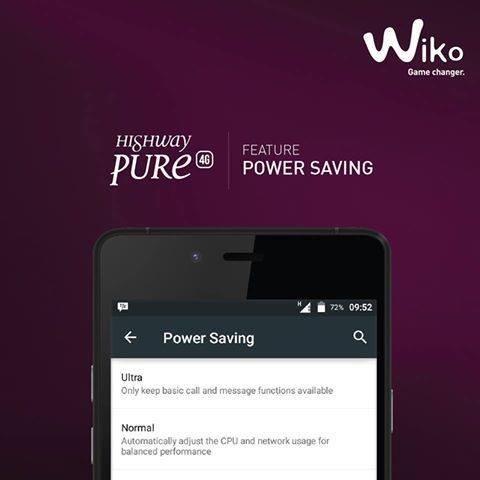 Wiko Highway Pure Lollipop Power Saving Mode