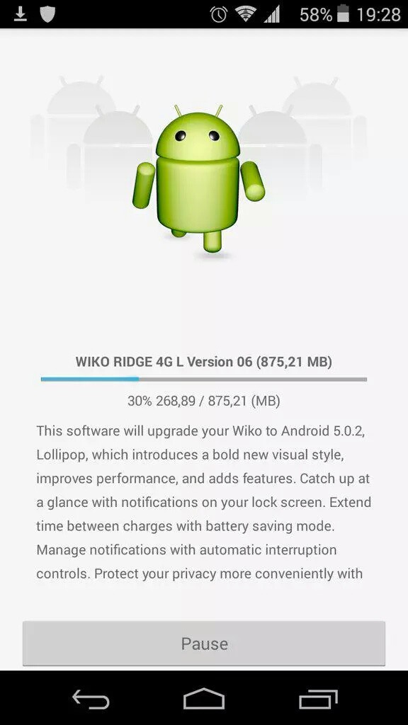 Wiko Ridge Lollipop Update