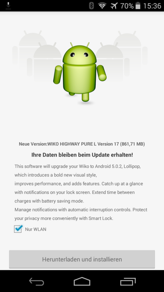 Wiko Highway Pure Lollipop Screenshot